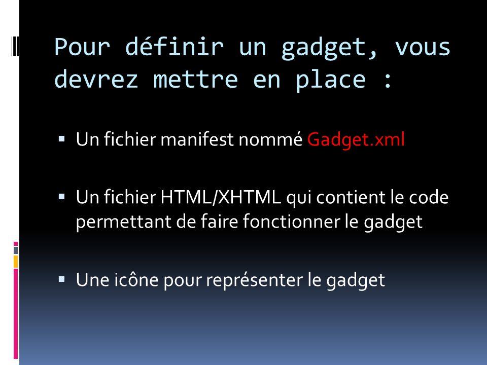 Pour définir un gadget, vous devrez mettre en place : Un fichier manifest nommé Gadget.xml Un fichier HTML/XHTML qui contient le code permettant de faire fonctionner le gadget Une icône pour représenter le gadget