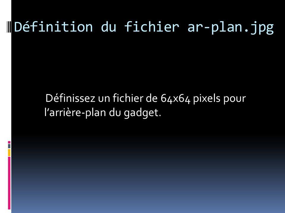 Définition du fichier gadget.png Définissez un fichier de 64x64 pixels pour représenter le gadget et sauvegardez-le au format PNG.