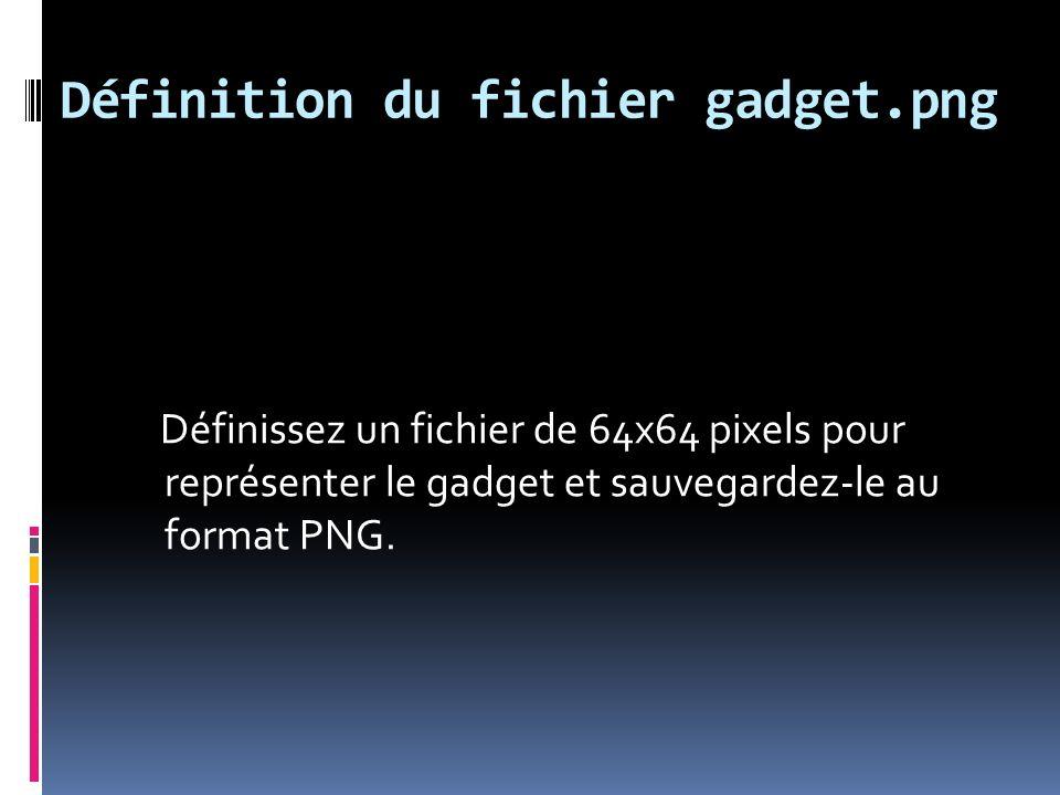 Implémentation du gadget Cliquez sur Démarrer, tapez %userprofile%\appdata\local\microsoft\wind ows sidebar\gadgets dans la zone de texte Rechercher et appuyez sur la touche Entrée.