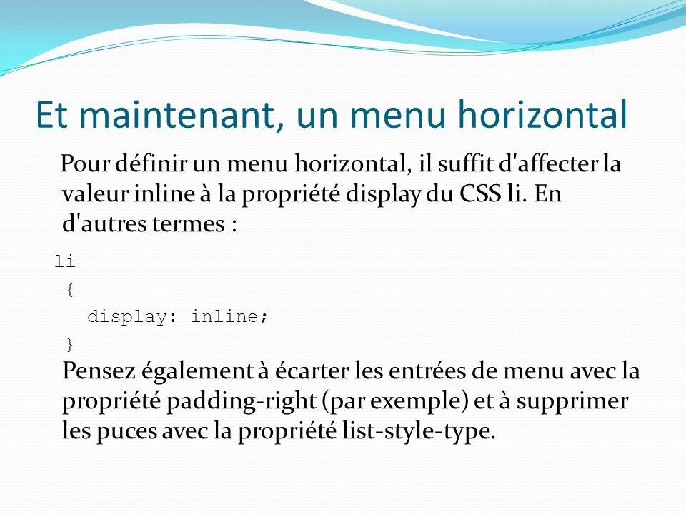 Et maintenant, un menu horizontal Pour définir un menu horizontal, il suffit d'affecter la valeur inline à la propriété display du CSS li. En d'autres