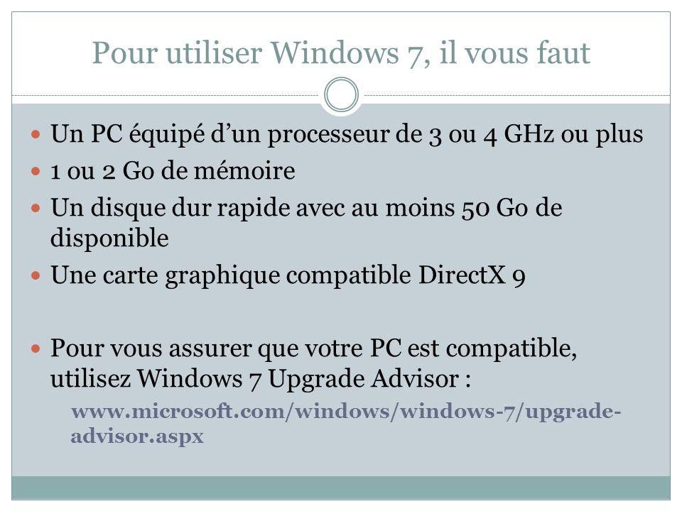 Pour utiliser Windows 7, il vous faut Un PC équipé dun processeur de 3 ou 4 GHz ou plus 1 ou 2 Go de mémoire Un disque dur rapide avec au moins 50 Go de disponible Une carte graphique compatible DirectX 9 Pour vous assurer que votre PC est compatible, utilisez Windows 7 Upgrade Advisor : www.microsoft.com/windows/windows-7/upgrade- advisor.aspx