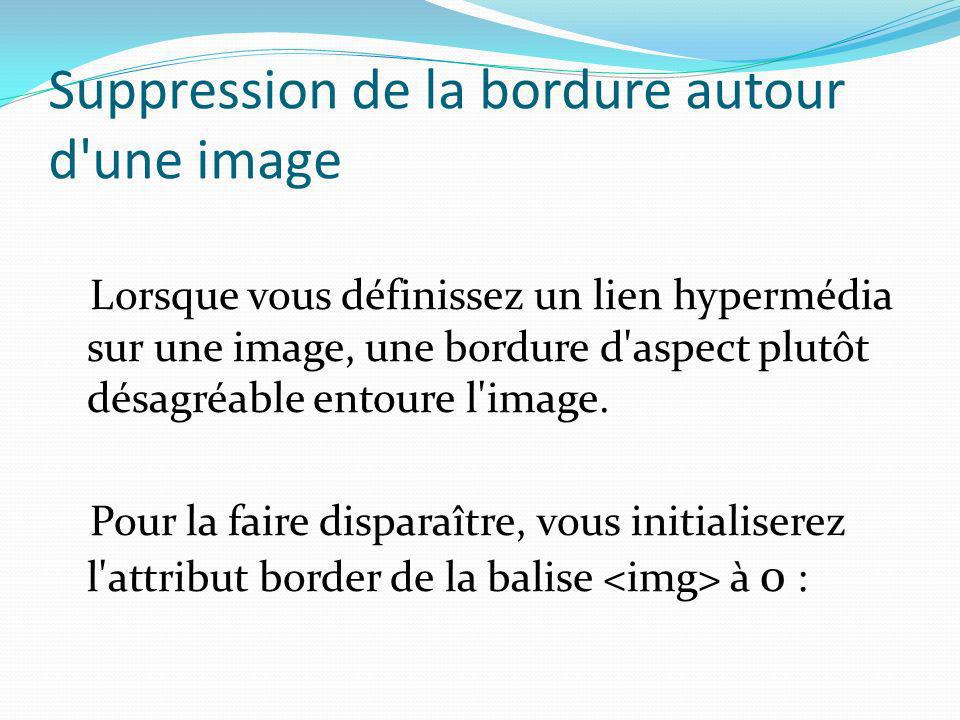 Suppression de la bordure autour d'une image Lorsque vous définissez un lien hypermédia sur une image, une bordure d'aspect plutôt désagréable entoure