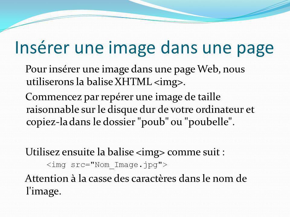 Insérer une image dans une page Pour insérer une image dans une page Web, nous utiliserons la balise XHTML. Commencez par repérer une image de taille