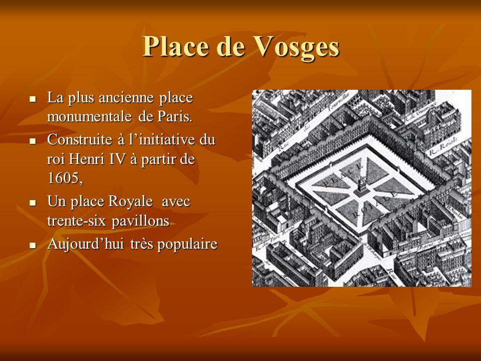 Place de Vosges La plus ancienne place monumentale de Paris. La plus ancienne place monumentale de Paris. Construite à linitiative du roi Henri IV à p