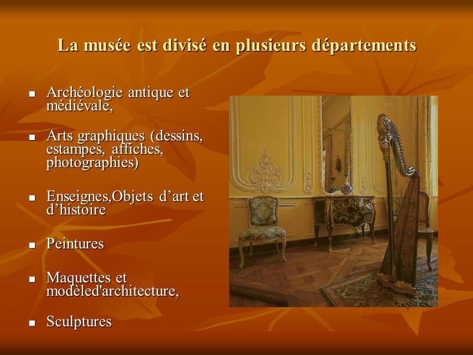 La musée est divisé en plusieurs départements Archéologie antique et médiévale, Archéologie antique et médiévale, Arts graphiques (dessins, estampes,