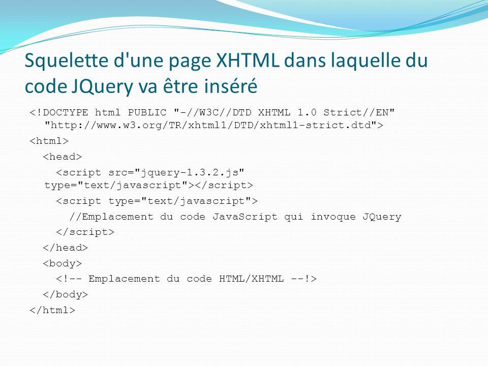 Squelette d une page XHTML dans laquelle du code JQuery va être inséré //Emplacement du code JavaScript qui invoque JQuery