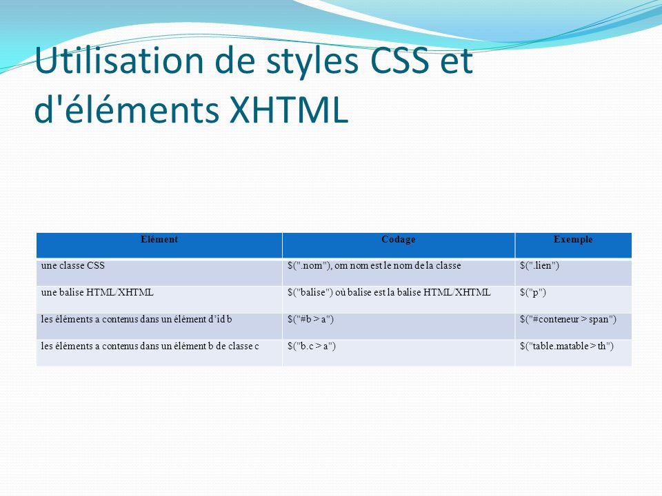 Utilisation de styles CSS et d éléments XHTML ElémentCodageExemple une classe CSS$( .nom ), om nom est le nom de la classe$( .lien ) une balise HTML/XHTML$( balise ) où balise est la balise HTML/XHTML$( p ) les éléments a contenus dans un élément did b$( #b > a )$( #conteneur > span ) les éléments a contenus dans un élément b de classe c$( b.c > a )$( table.matable > th )
