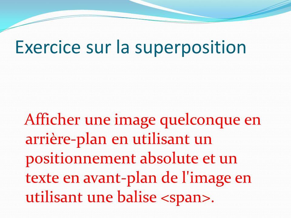 Exercice sur la superposition Afficher une image quelconque en arrière-plan en utilisant un positionnement absolute et un texte en avant-plan de l'ima