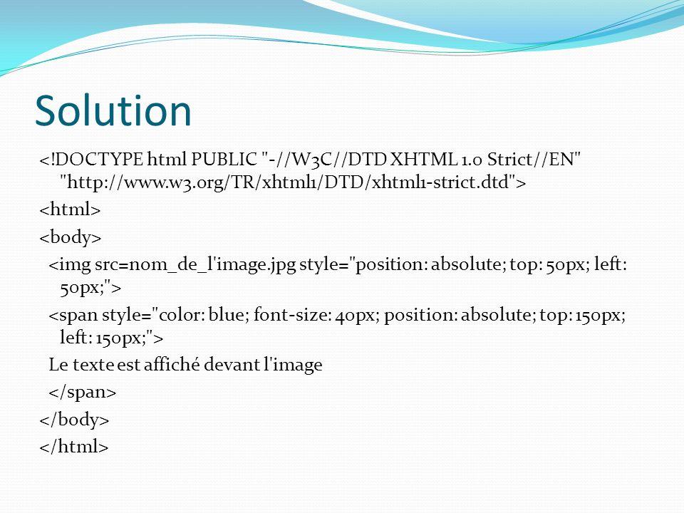 Solution Le texte est affiché devant l image