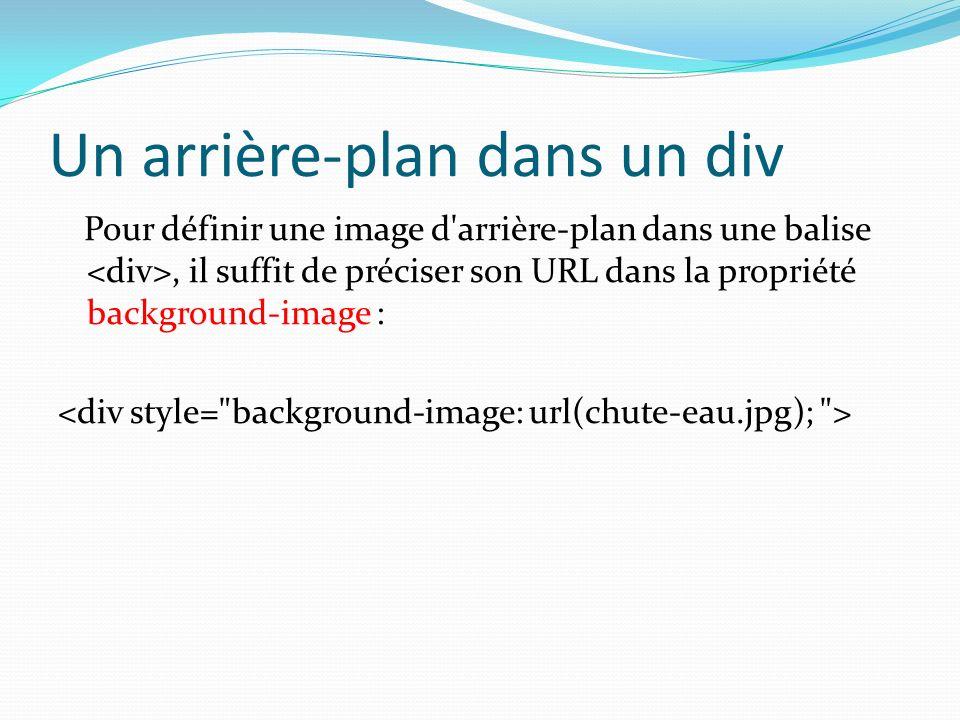 Un arrière-plan dans un div Pour définir une image d'arrière-plan dans une balise, il suffit de préciser son URL dans la propriété background-image :