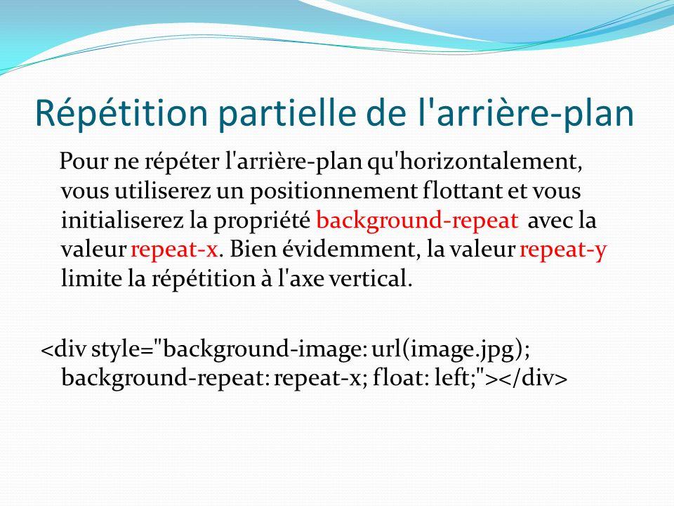 Répétition partielle de l'arrière-plan Pour ne répéter l'arrière-plan qu'horizontalement, vous utiliserez un positionnement flottant et vous initialis