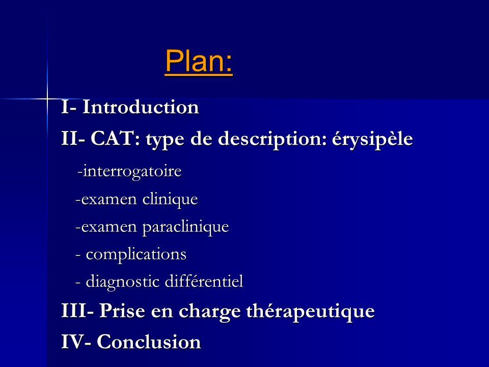 Plan: I- Introduction II- CAT: type de description: érysipèle -interrogatoire -interrogatoire -examen clinique -examen clinique -examen paraclinique -