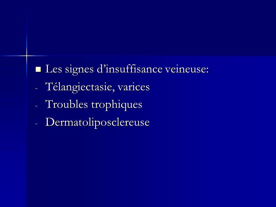 Les signes dinsuffisance veineuse: Les signes dinsuffisance veineuse: - Télangiectasie, varices - Troubles trophiques - Dermatoliposclereuse