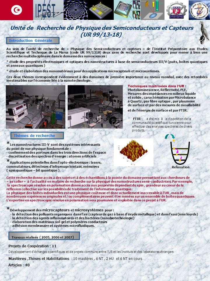 Introduction Générale Thèmes de recherche Au sein de l unité de recherche de « Physique des Semiconducteurs et capteurs » de l Institut Préparatoire aux Etudes Scientifique et Technique de La Marsa (code UR 99/1318) deux axes de recherche sont développés pour mener à bien une recherche multidisciplinaire dans le domaine des nanosciences : * étude des propriétés électroniques et optiques des nanostructures à base de semiconducteurs III/V (puits, boîtes quantiques et anneaux quantiques ) * étude et élaboration des nanomatériaux pour des applications microcapteurs et microsystèmes.