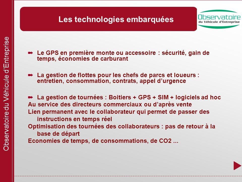 Observatoire du Véhicule dEntreprise Les technologies embarquées Le GPS en première monte ou accessoire : sécurité, gain de temps, économies de carbur