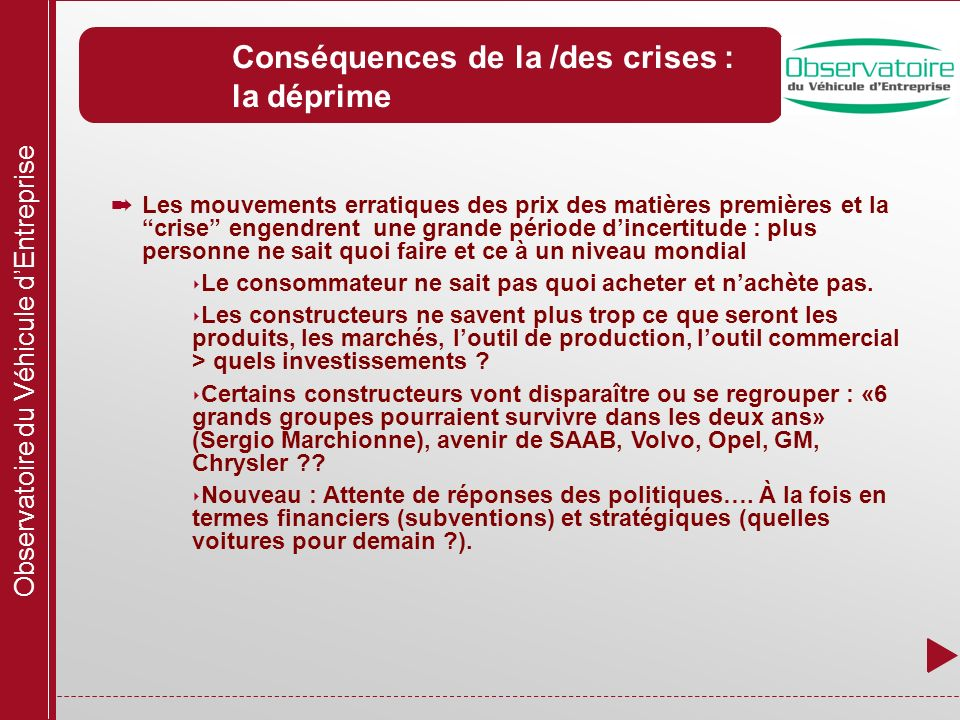 Observatoire du Véhicule dEntreprise Conséquences de la /des crises : la déprime Les mouvements erratiques des prix des matières premières et la crise