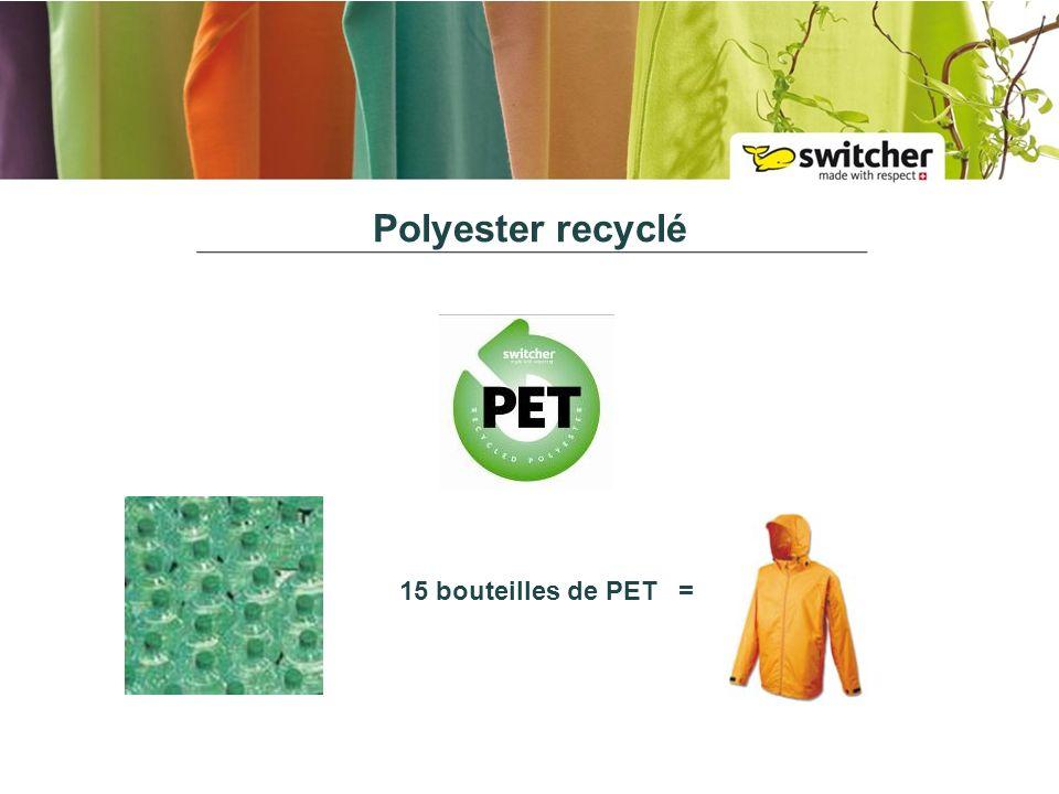 Polyester recyclé 15 bouteilles de PET =