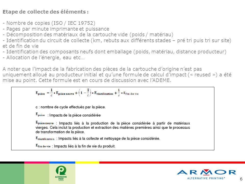 6 Etape de collecte des éléments : - Nombre de copies (ISO / IEC 19752) - Pages par minute imprimante et puissance - Décomposition des matériaux de la