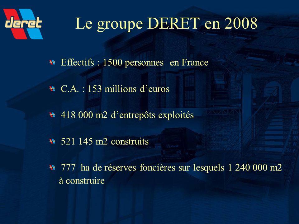Le groupe DERET en 2008 Effectifs : 1500 personnes en France C.A. : 153 millions deuros 418 000 m2 dentrepôts exploités 521 145 m2 construits 777 ha d