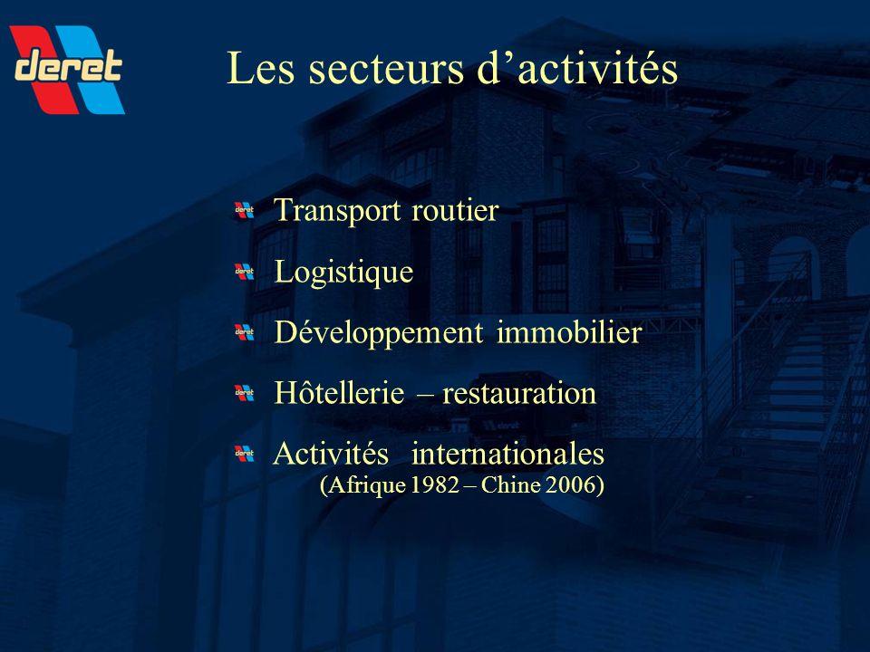 Les secteurs dactivités Transport routier Logistique Développement immobilier Hôtellerie – restauration Activités internationales (Afrique 1982 – Chin