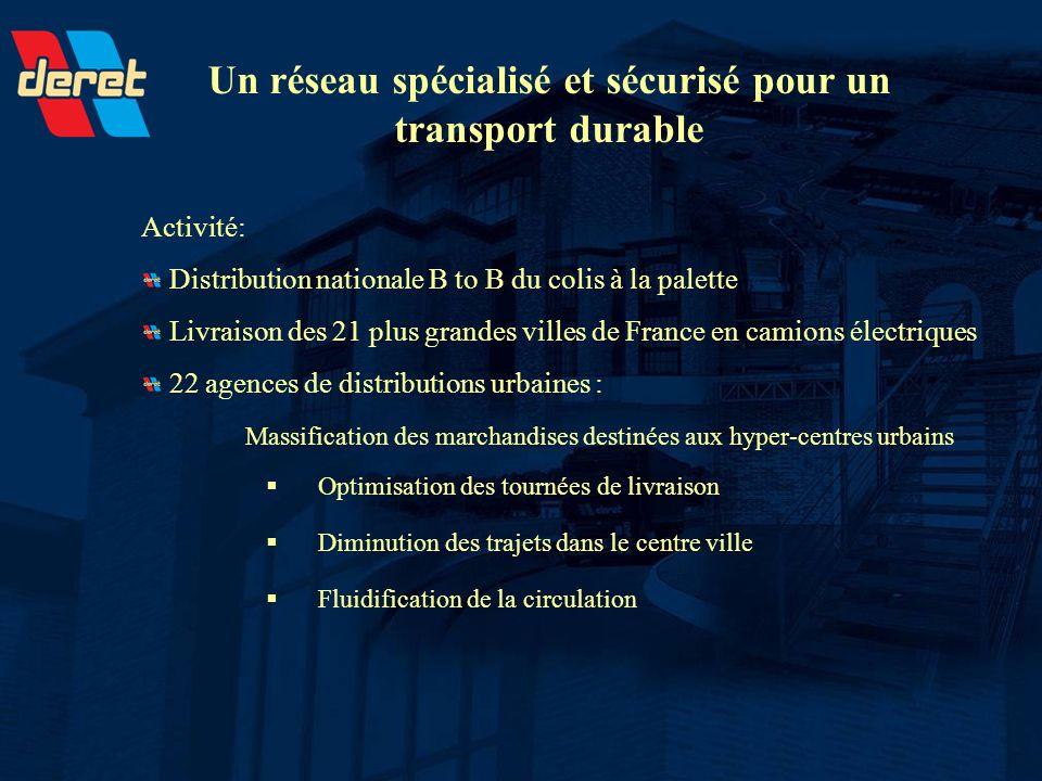 Un réseau spécialisé et sécurisé pour un transport durable Activité: Distribution nationale B to B du colis à la palette Livraison des 21 plus grandes