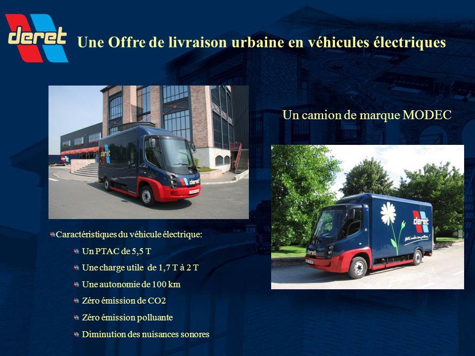 Une Offre de livraison urbaine en véhicules électriques Un camion de marque MODEC Caractéristiques du véhicule électrique: Un PTAC de 5,5 T Une charge