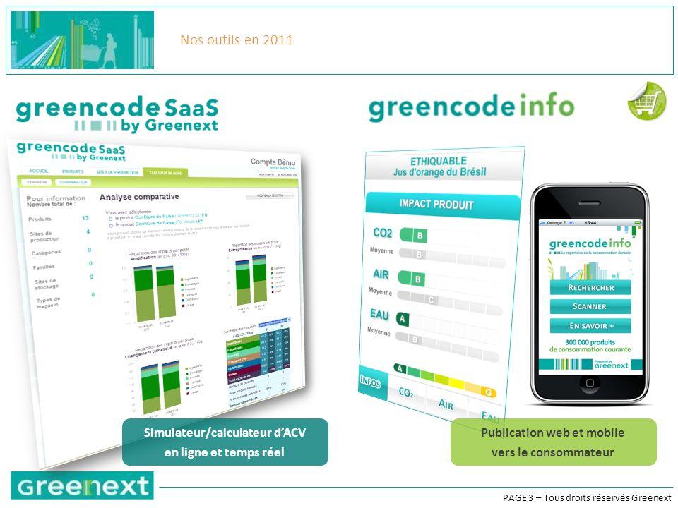 PAGE 3 – Tous droits réservés Greenext Nos outils en 2011 Simulateur/calculateur dACV en ligne et temps réel Publication web et mobile vers le consommateur