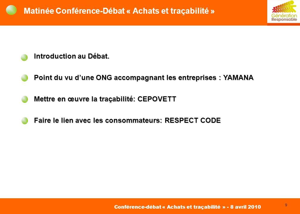 9 David Roger Conseil pour des Achats Responsables Conférence-débat « Achats et traçabilité » - 8 avril 2010 Matinée Conférence-Débat « Achats et traçabilité » Introduction au Débat.
