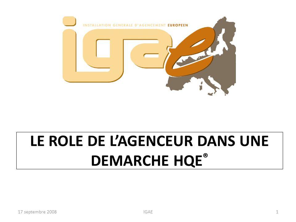 17 septembre 2008IGAE2 Points traités A partir de la démarche HQE ® recherche des cibles possibles lors de la rénovation dun magasin.