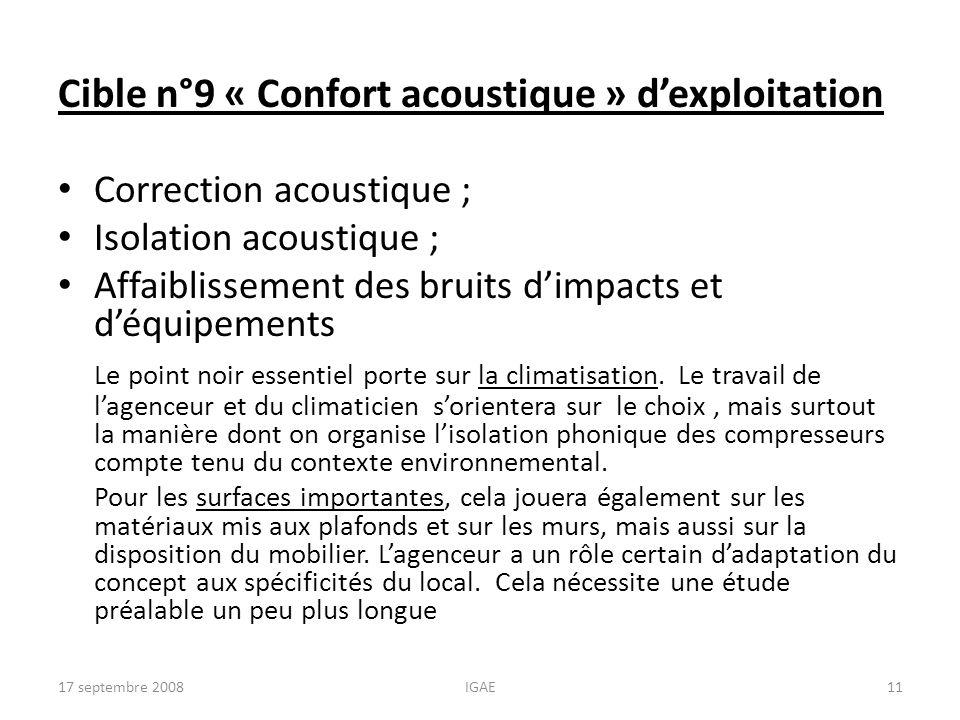Cible n°9 « Confort acoustique » dexploitation Correction acoustique ; Isolation acoustique ; Affaiblissement des bruits dimpacts et déquipements Le p