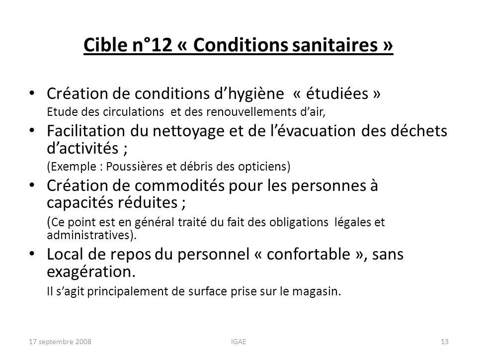 Cible n°12 « Conditions sanitaires » Création de conditions dhygiène « étudiées » Etude des circulations et des renouvellements dair, Facilitation du