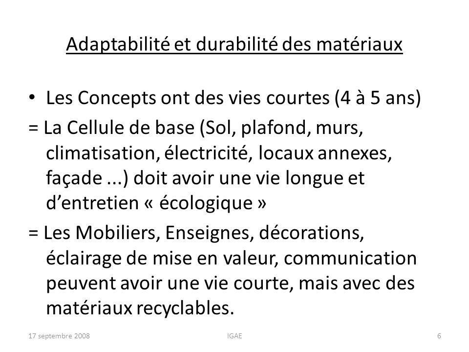 Adaptabilité et durabilité des matériaux Les Concepts ont des vies courtes (4 à 5 ans) = La Cellule de base (Sol, plafond, murs, climatisation, électr