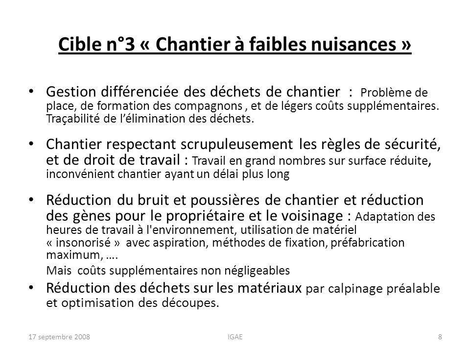 Cible n°3 « Chantier à faibles nuisances » Gestion différenciée des déchets de chantier : Problème de place, de formation des compagnons, et de légers