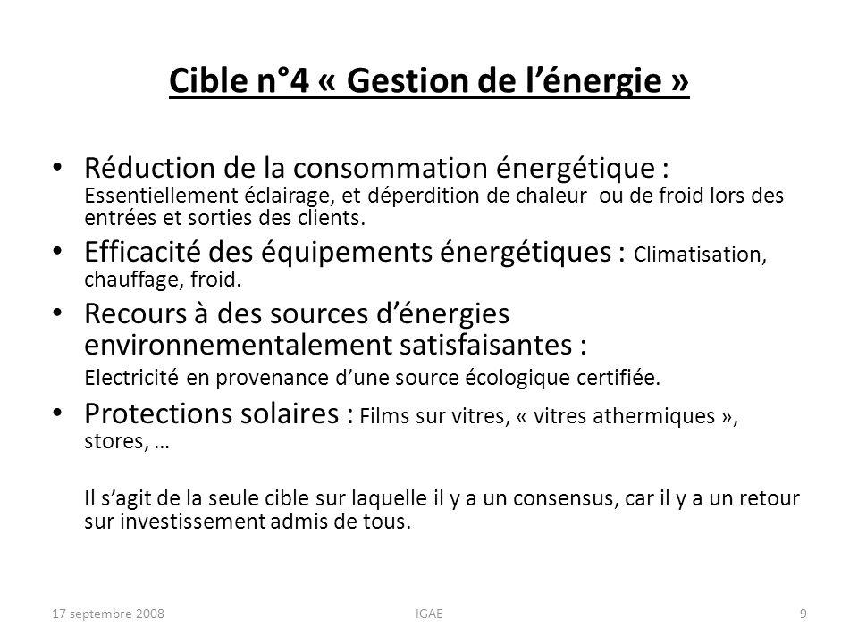 Cible n°4 « Gestion de lénergie » Réduction de la consommation énergétique : Essentiellement éclairage, et déperdition de chaleur ou de froid lors des