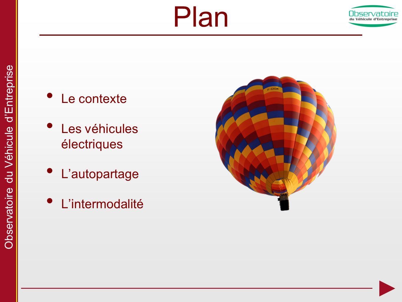 Observatoire du Véhicule dEntreprise Plan Le contexte Les véhicules électriques Lautopartage Lintermodalité