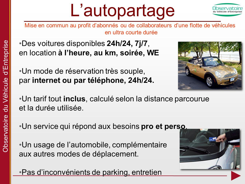 Observatoire du Véhicule dEntreprise Lautopartage Des voitures disponibles 24h/24, 7j/7, en location à lheure, au km, soirée, WE Un mode de réservation très souple, par internet ou par téléphone, 24h/24.