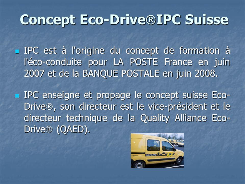Concept Eco-Drive IPC Suisse Concept Eco-Drive IPC Suisse IPC est à l origine du concept de formation à l éco-conduite pour LA POSTE France en juin 2007 et de la BANQUE POSTALE en juin 2008.