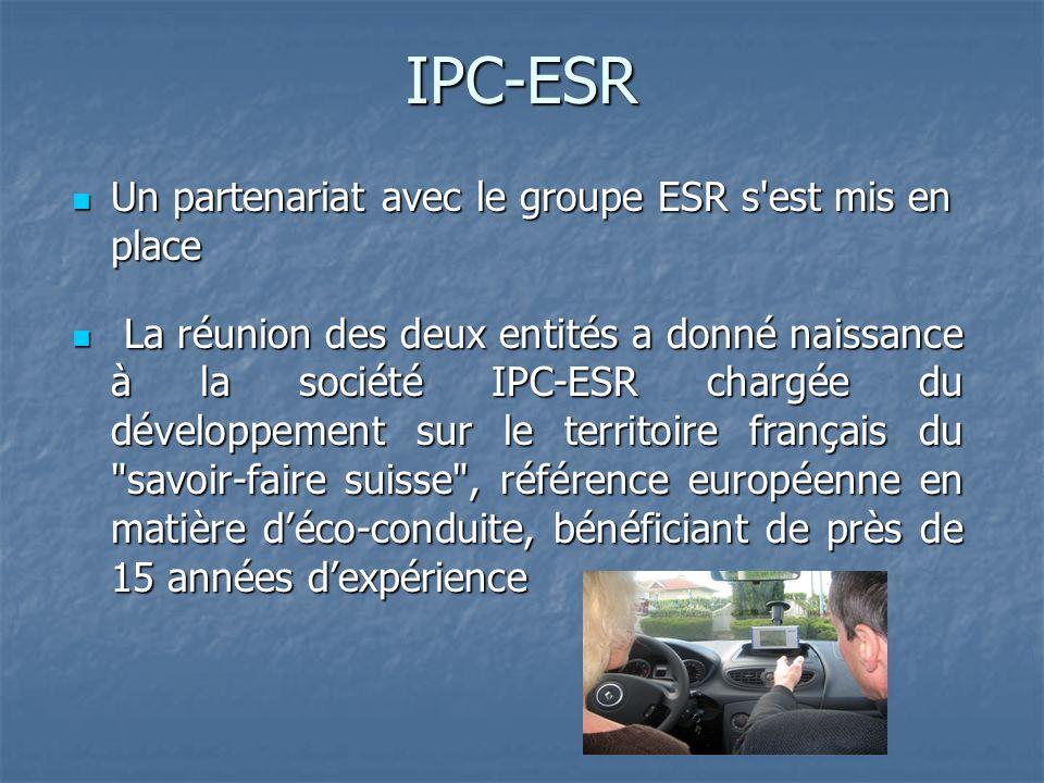 IPC-ESR Un partenariat avec le groupe ESR s est mis en place Un partenariat avec le groupe ESR s est mis en place La réunion des deux entités a donné naissance à la société IPC-ESR chargée du développement sur le territoire français du savoir-faire suisse , référence européenne en matière déco-conduite, bénéficiant de près de 15 années dexpérience La réunion des deux entités a donné naissance à la société IPC-ESR chargée du développement sur le territoire français du savoir-faire suisse , référence européenne en matière déco-conduite, bénéficiant de près de 15 années dexpérience