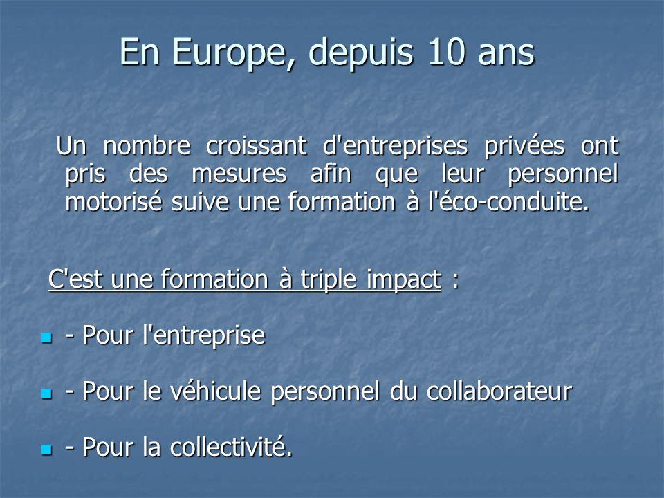 En Europe, depuis 10 ans Un nombre croissant d entreprises privées ont pris des mesures afin que leur personnel motorisé suive une formation à l éco-conduite.