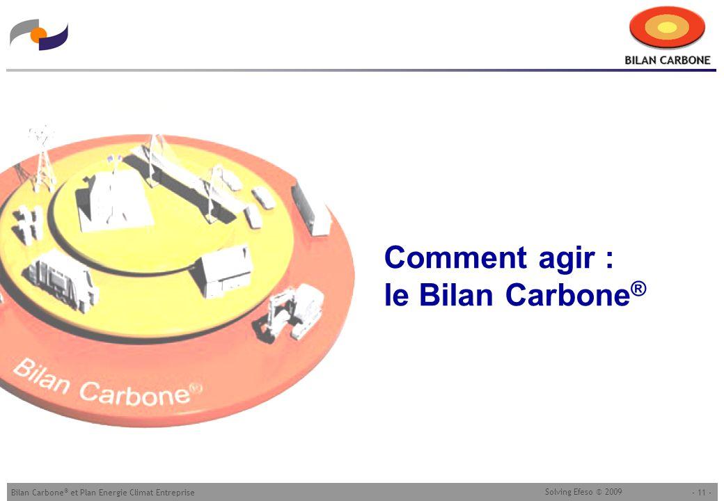 - 11 -Bilan Carbone ® et Plan Energie Climat Entreprise Solving Efeso © 2009 Comment agir : le Bilan Carbone ®