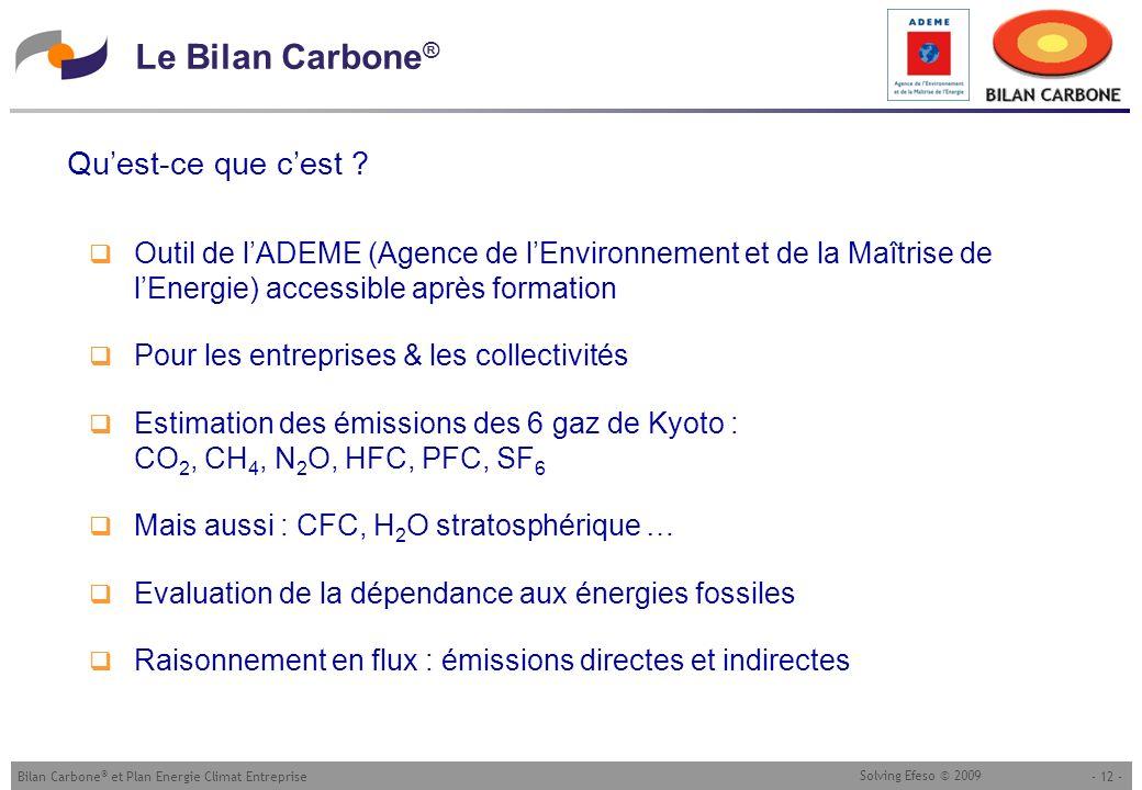 - 12 -Bilan Carbone ® et Plan Energie Climat Entreprise Solving Efeso © 2009 Le Bilan Carbone ® Quest-ce que cest ? Outil de lADEME (Agence de lEnviro