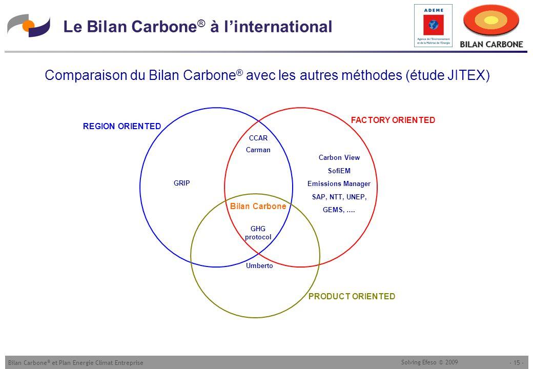 - 15 -Bilan Carbone ® et Plan Energie Climat Entreprise Solving Efeso © 2009 Le Bilan Carbone ® à linternational Comparaison du Bilan Carbone ® avec l