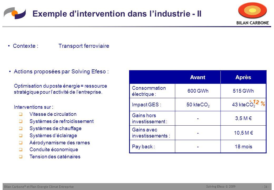 - 34 -Bilan Carbone ® et Plan Energie Climat Entreprise Solving Efeso © 2009 Exemple dintervention dans lindustrie - II Contexte : Transport ferroviai