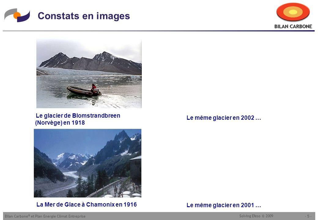 - 5 -Bilan Carbone ® et Plan Energie Climat Entreprise Solving Efeso © 2009 Constats en images Le glacier de Blomstrandbreen (Norvège) en 1918 Le même