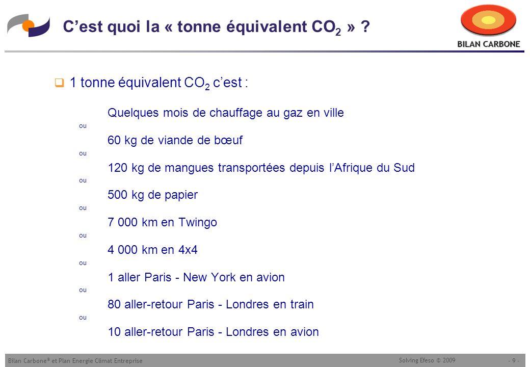 - 9 -Bilan Carbone ® et Plan Energie Climat Entreprise Solving Efeso © 2009 Cest quoi la « tonne équivalent CO 2 » ? 1 tonne équivalent CO 2 cest : Qu