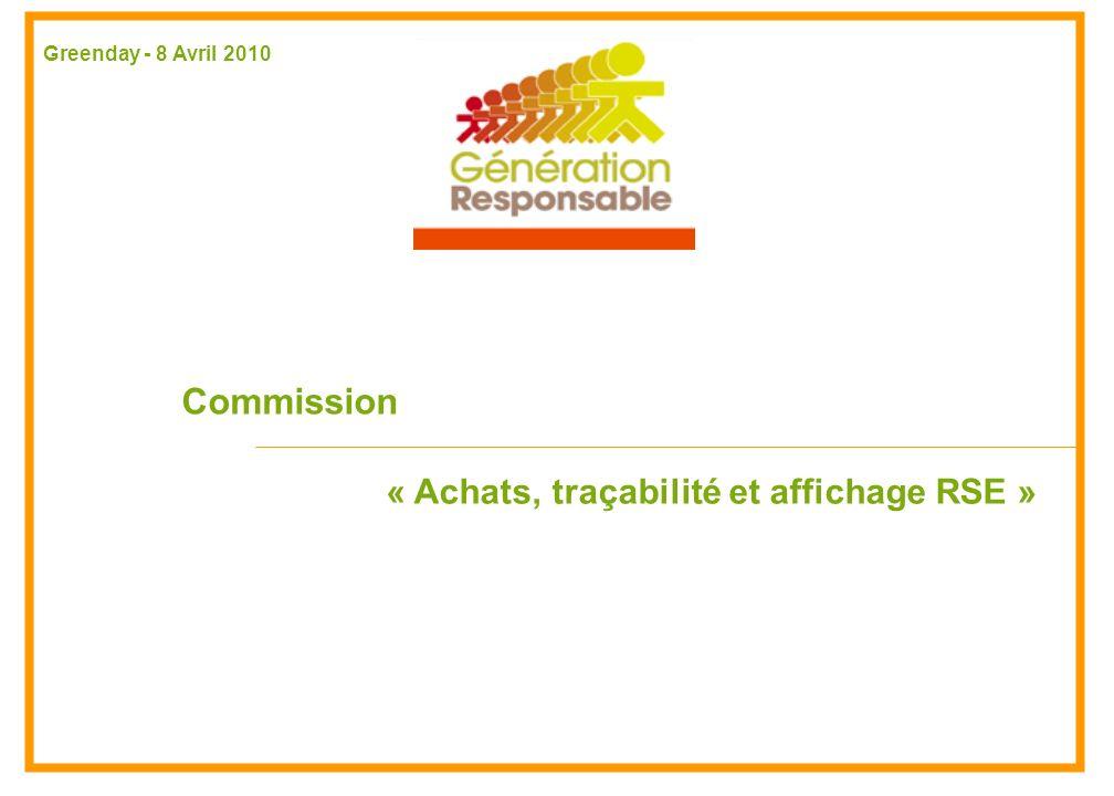 Commission « Achats, traçabilité et affichage RSE » Greenday - 8 Avril 2010