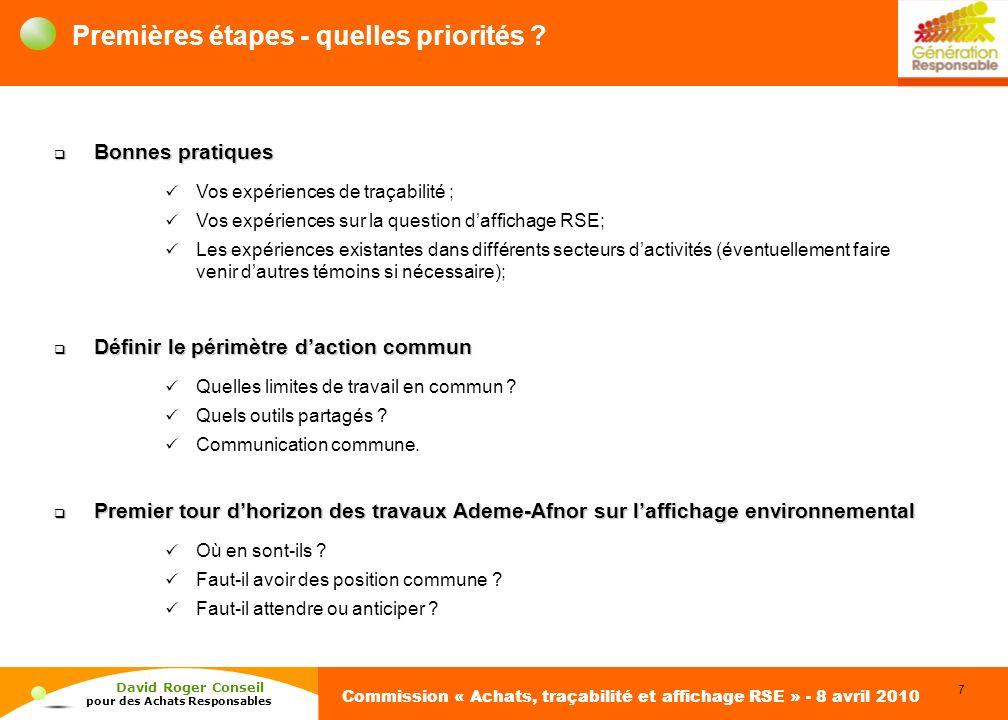 7 David Roger Conseil pour des Achats Responsables Commission « Achats, traçabilité et affichage RSE » - 8 avril 2010 Premières étapes - quelles priorités .