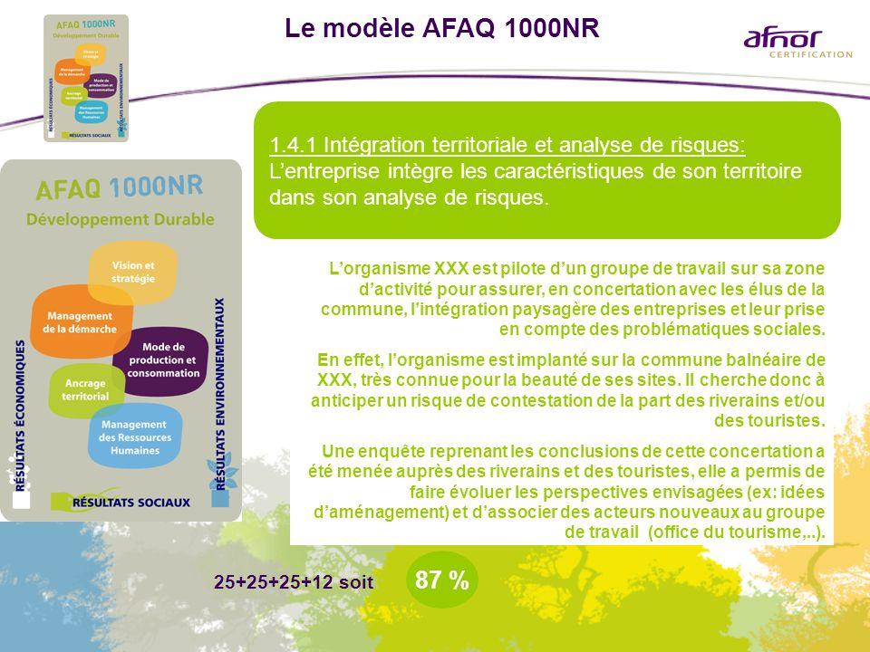 Le modèle AFAQ 1000NR 1.4.1 Intégration territoriale et analyse de risques: Lentreprise intègre les caractéristiques de son territoire dans son analys