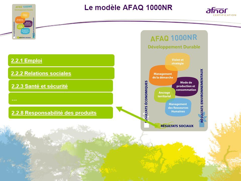 Le modèle AFAQ 1000NR 2.2.3 Santé et sécurité 2.2.1 Emploi … 2.2.2 Relations sociales 2.2.8 Responsabilité des produits