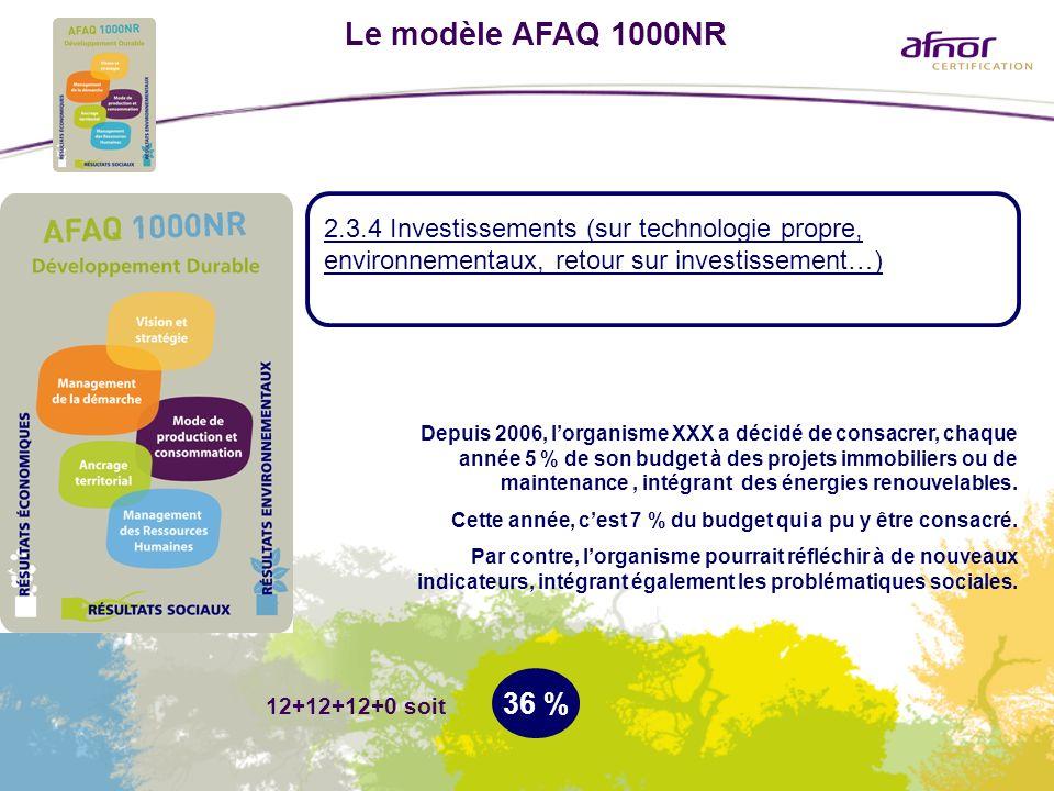 Le modèle AFAQ 1000NR 2.3.4 Investissements (sur technologie propre, environnementaux, retour sur investissement…) 36 % Depuis 2006, lorganisme XXX a